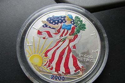 COLORIZED 2000 UNC. ~~SILVER DOLLAR ~~FREE SHIPPING~~IN SLAB~~ NICE COIN