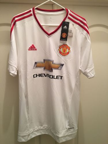 NWT Adidas 2015/2016 Manchester United White Away Jersey Men Size L