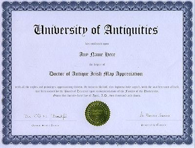 Doctor Antique Irish Map Appreciation Novelty Diploma