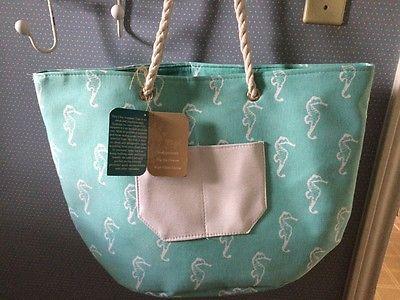 Aqua Seahorse Insulated Beach Cooler Bag * NEW