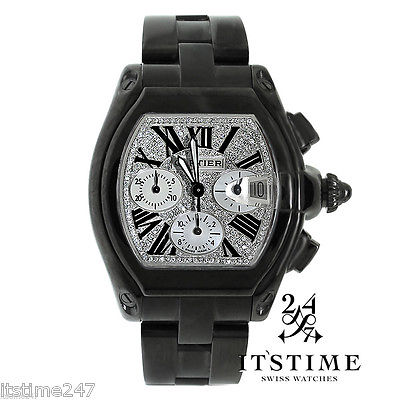 CARTIER Roadster Chronograph XL Diamond Dial Black Coated DLC/PVD Watch