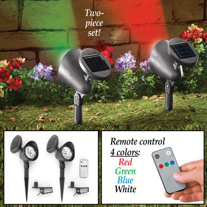 Solar Flood Lights with Remote - Set of 2 Four Colors - House - Building Shine