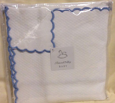Peacock Alley- 100% Egyptian Cotton Baby Blanket (White with Blue ) 30