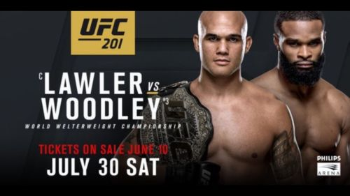 7th ROW CTR FLOOR  UFC 201 Lawler v Woodley  7/30/16 Atlanta GA