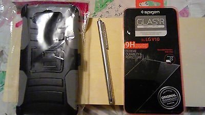 LG V10 Hard / Soft Phone Case + 9H Screen Protector Kit + Stylus Combo Package