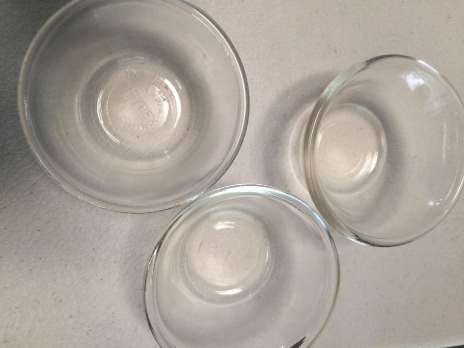 Pyrex Custard Cups Set of 3 Flared Edges #414 Clear Glass