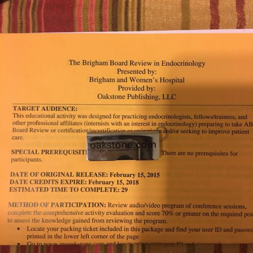 Brigham Endocrinology Board Review Videos On USB Drive