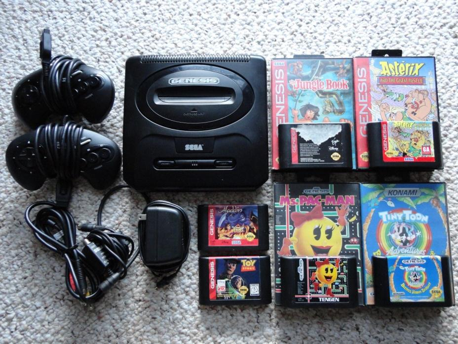 **MINT CONDITION** SEGA Genesis 2 MK-1631 + 2 Controllers + 6 Games + All Cables
