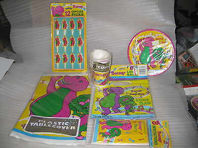 Barney Birthday Party supplies tablecloth, invitations, Loot Bags, Blowouts +