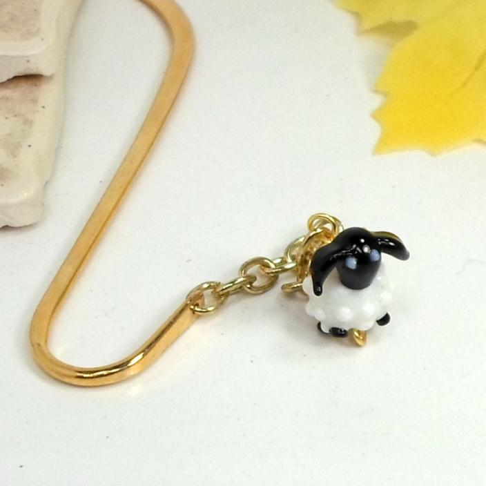 Lamb Bookmark handmade dangle charm goldtone sheep by Pat2