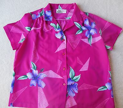 HILO HATTIE Shirt HAWAIIAN Size Womens X-LARGE Rayon HIBISCUS Flowers Pink