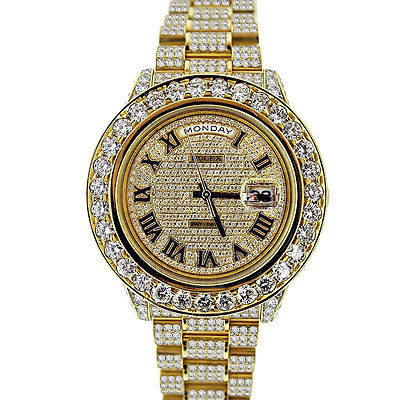 ROLEX DAY DATE II YELLOW GOLD ALL OVER W DIAMONDS MENS WATCH