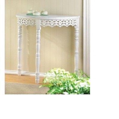 White Flourish Hallway Table