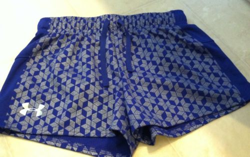 Girls BLUE/SILVER Under Armour Shorts Youth LARGE Heat Gear Loose Fit