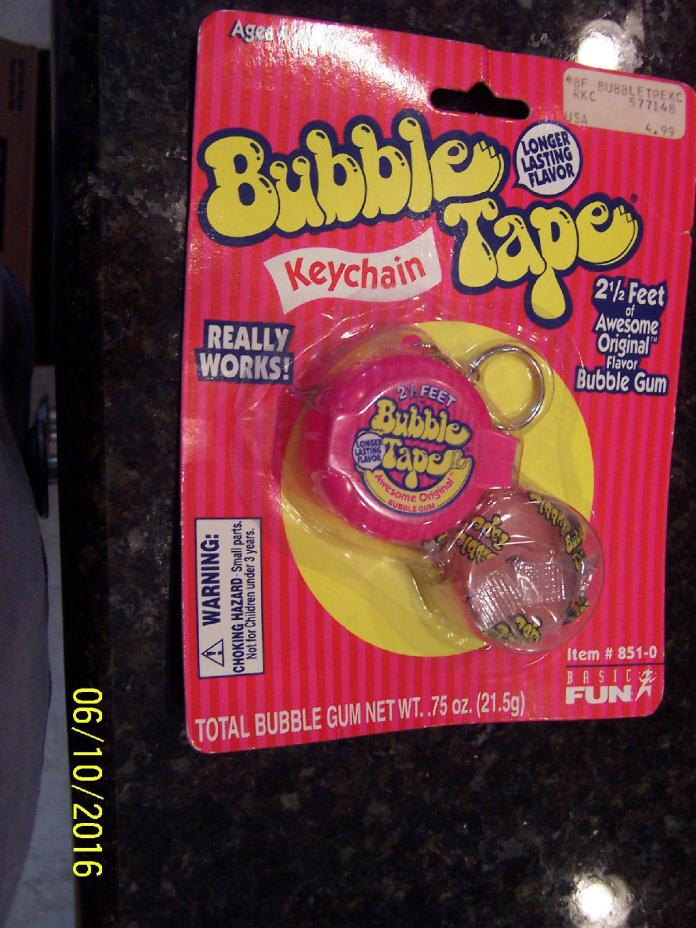 New Vintage BUBBLE TAPE Key Chain Rare by Basic Fun 2.5' BUBBLE GUM REALY WORKS
