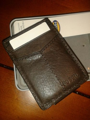 NWT NEW Fossil Men's Ingram front pocket money clip wallet brown