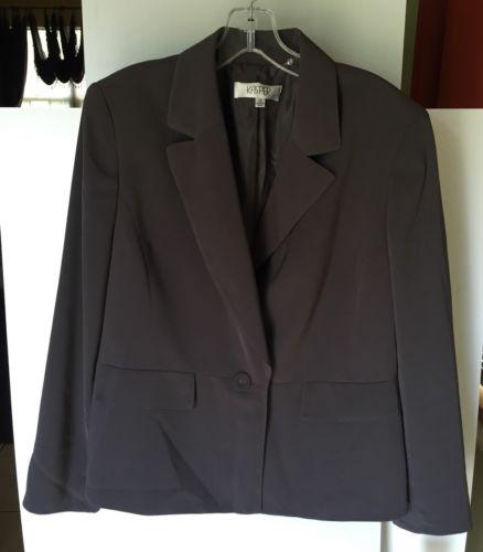 NWT Kasper Gray 1 Button Blazer Size 14