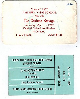 60's Simsbury Connecticut nostalgia--1964 and 1967 Simsbury High School tickets
