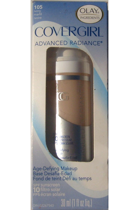 Olay Covergirl Advanced Radiance Age-Defying Makeup 105 Ivory SPF 10 Sunscreen