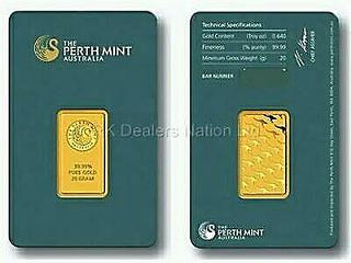 20 g Perth Mint gold bar 99.99% AU (with assay) FREE USPS Priority Shipping