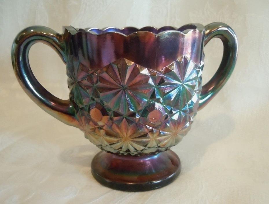 Antique ~ Degenhart ~Blue Amethyst Carnival Glass ~ SUGAR BOWL ~ Daisy & Button
