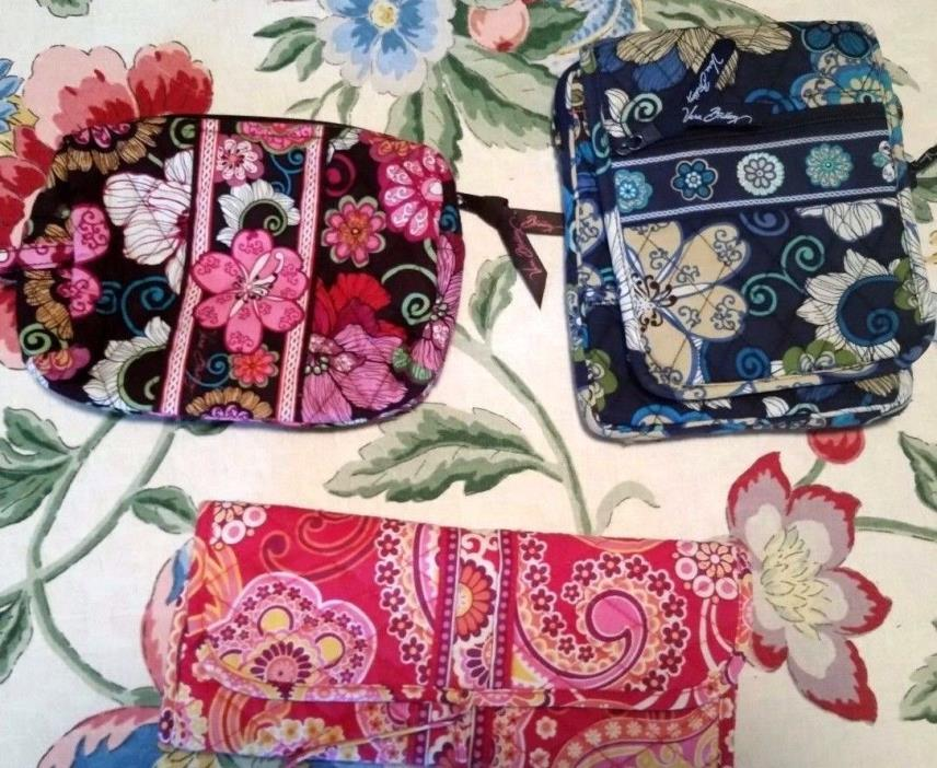 Lot of 3 Vera Bradley Small Bags Cosmetic, Hipster, Crossbody