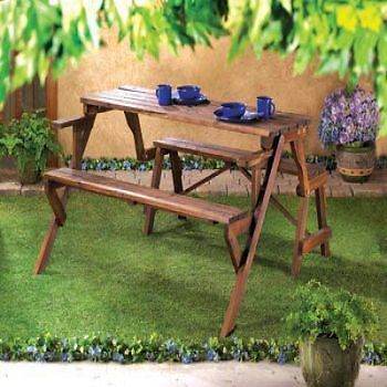 Convertible Garden Table And Bench Yard Lawn Outdoor Patio Furniture