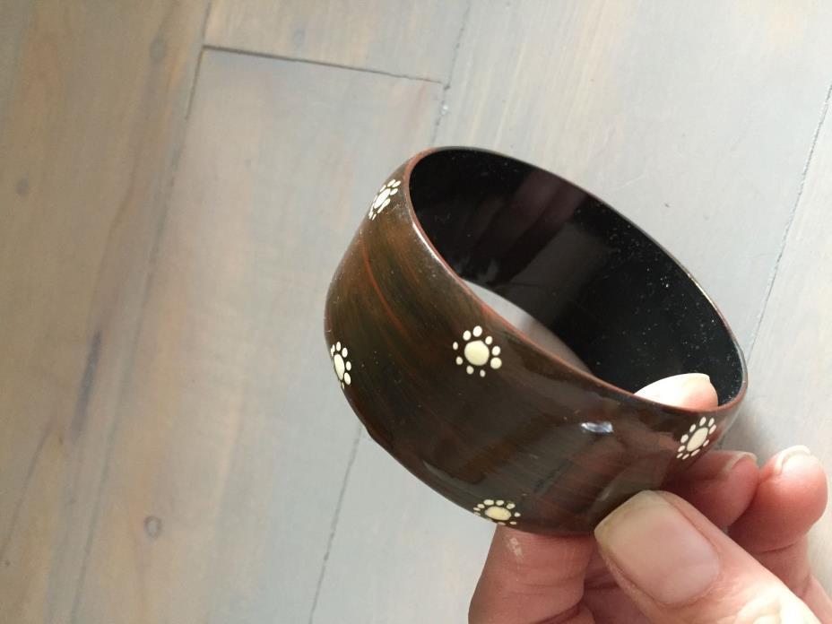 Faux wood bangle bracelet with white design 1.5