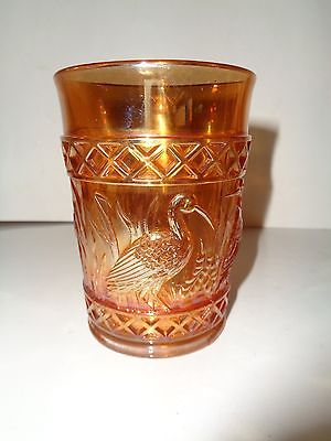 AWESOME VINTAGE CARNIVAL GLASS TUMBLER-MARIGOLD-STORKS & RUSHES PATTERN