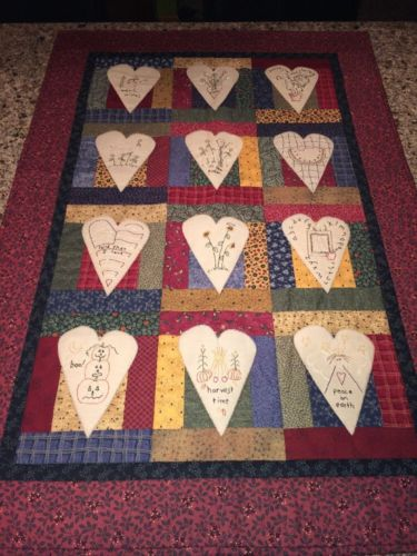 Handmade Quilted Wall Hanging Months Of The year Embroidered