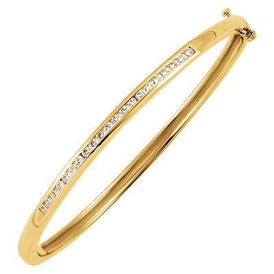 5/8 Ctw Diamond 3mm Hinged Bangle Bracelet in 14K Yellow Gold