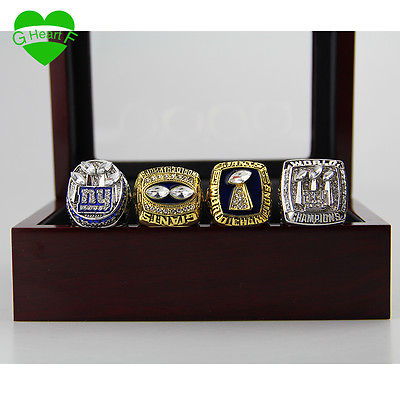 SET OF FOUR (4) Silver Plated NY GIANTS Rings w/ case SAME DAY SHIP NOT CHINA