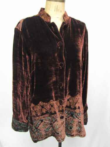Citron of Santa Monica Brown & Turquoise Embroidered Velvet Jacket Large
