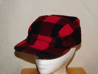 Vintage WOOLRICH HUNTING HAT Mens 50s buffalo plaid trapper wool sz 7 5/8