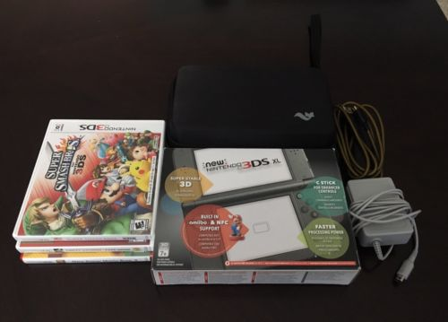 Nintendo New 3DS XL Launch Edition Black (New in Box) + Case + 3 games