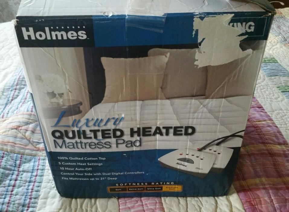 Holmes Luxury Quilted Heated Mattress Pad w/Dual Controllers  King   76