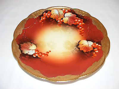 VINTAGE ANTIQUE GOLD & BURGUNDY RED FRUIT PICKARD PORCELAIN CHINA PLATE