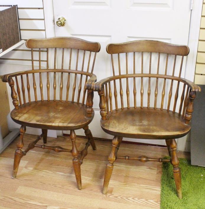 Set Of 4 Nichols & Stone Fiddle Back Wood Kitchen Chairs 1970s 2 W/ Arm Rest