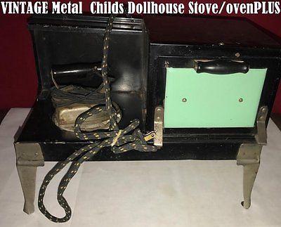VINTAGE Metal Toy/Dollhouse Stove/Oven PLUS