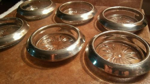 Sterling Silver and Glass Coasters by Frank Whiting set of 6