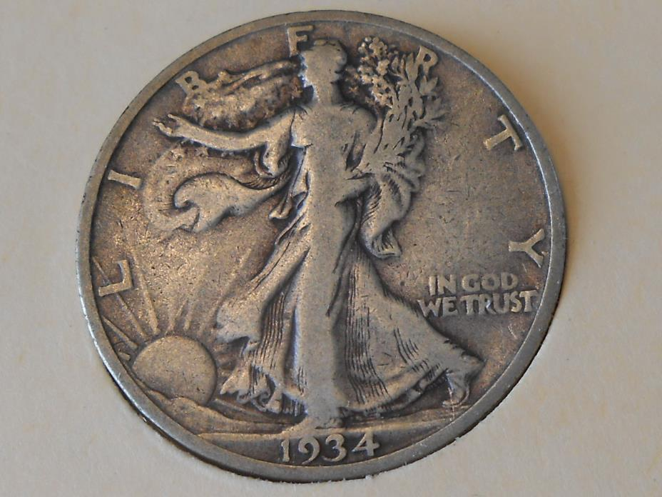 1934S Fine Walking Liberty Half Dollar Ref#59