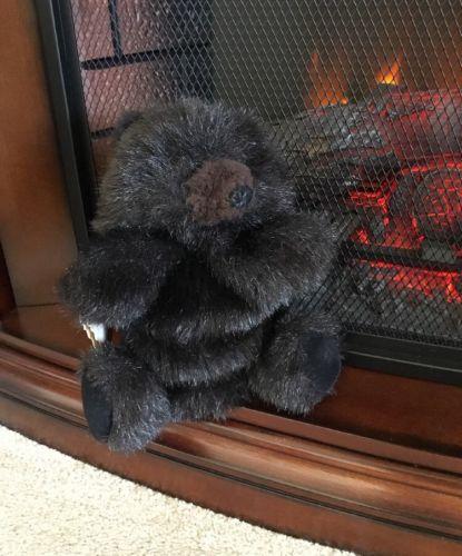 Fuzzy Black Bear Plush Hand Puppet Folkmanis Furry Folk Puppets Made in USA 9