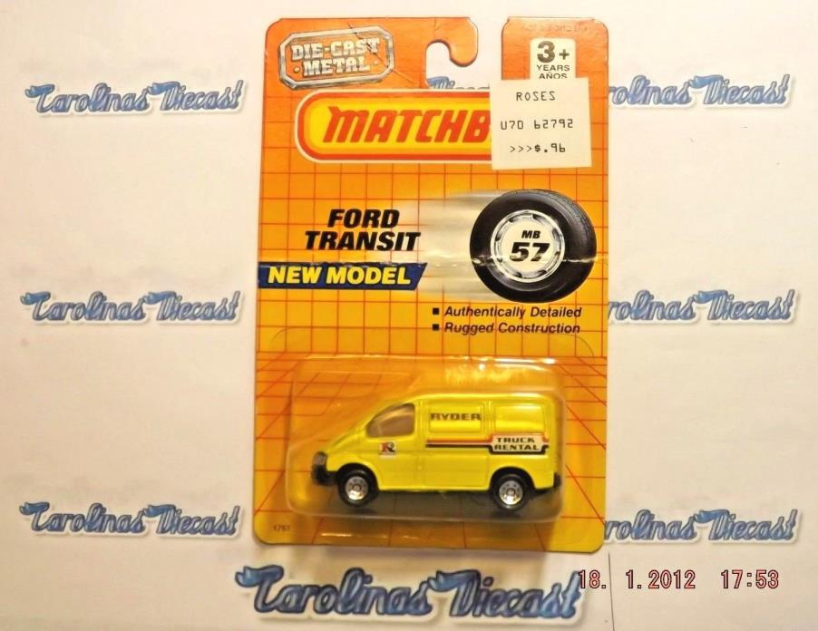 MATCHBOX SUPERFAST 57 FORD TRANSIT CHINA RYDER TRUCK RENTAL (CREASED CARD) TT2