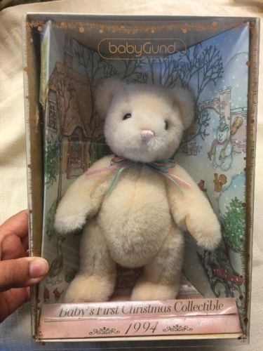 BABY GUND TEDDY BEAR:Baby's First Christmas Collectible 1994