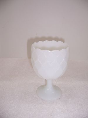 Milk Glass Footed Goblet