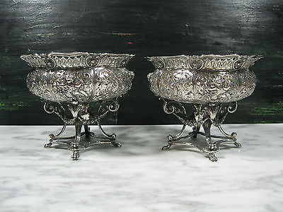 PAIR ANTIQUE ITALIAN 800 SILVER COMPOTES CHERUBS ROSES DRUMS TRUMPETS ROCOCO