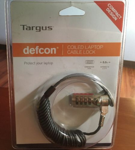 TARGUS DEFCON COILED LAPTOP CABLE COMBINATION LOCK 5.5' NEW
