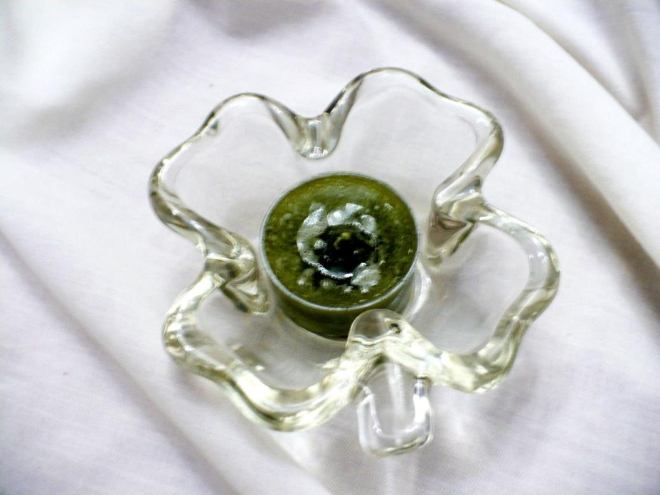 Vintage Four 4-Leaf Clover Clear Glass Glass Dish Candle Holder Tea Light 4
