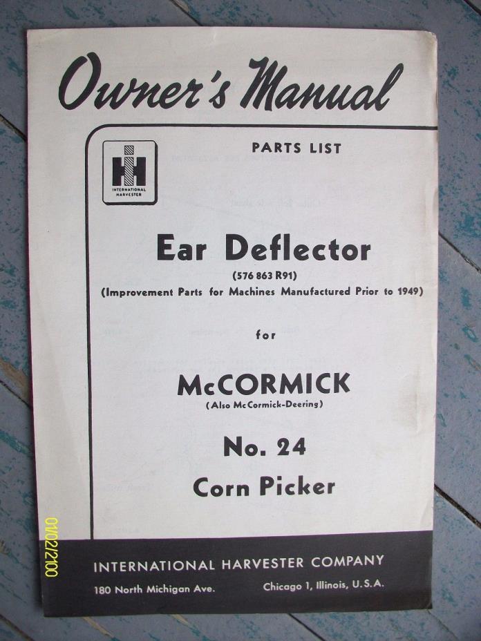 Old International Harvester Ear Deflector McCormick No. 24 Corn Picker Manual