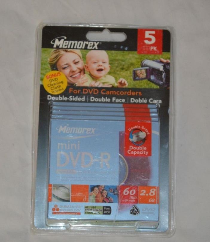 Memorex 5 Pack Mini DVD-R 60 min 2.8 GB Recordable Discs Double Sided New